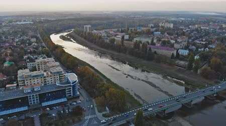small town panoramic view from above in the autumn Uzhhorod Ukraine Europe during the sunset over the Uzh River