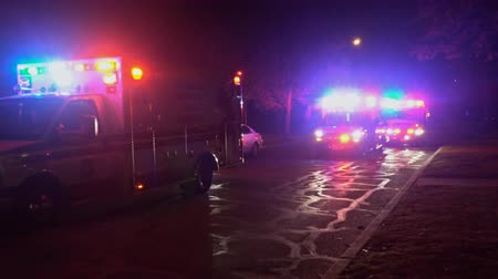 Sayreville NJ USA DECEMBER 23 2018: an ambulance flashes its lights during a after storm