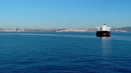 ferry terminal : Tracking shot off the port of Gibraltar Stock Footage