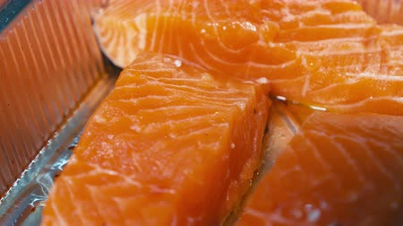 рыболовство : Red salmon fillet Close up