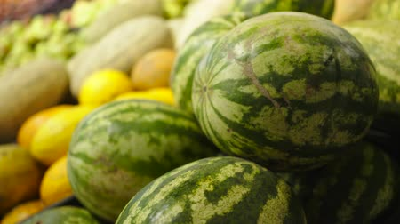 bakkaliye : Fresh Raw watermelons in a counter of market