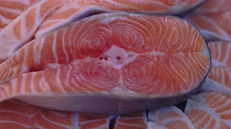 ветчина : Fresh Raw red fish in a counter of market