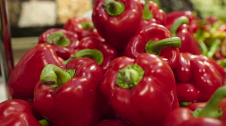 ветчина : Fresh Raw red pepper in a counter of market