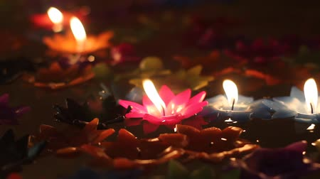 égő : Flower candles floating in water