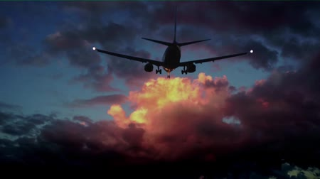 Commercial aircraft on sky with moving clouds Stok Video