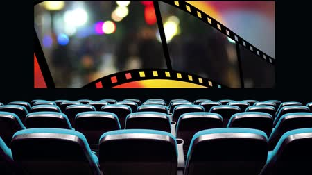 cinema with symbolic film strip with moving people on screen Stok Video