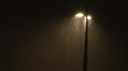 Lamppost in evening in heavy snowstorm Stok Video