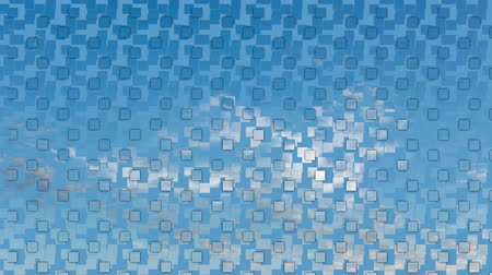 merging : Scattered image with square pattern merging into blue summer sky with white clouds Stock Footage
