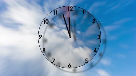 Transparent clock ticking from five to twelve on blue sky with 3D effect, with an area becoming increasingly red, indicating urgency