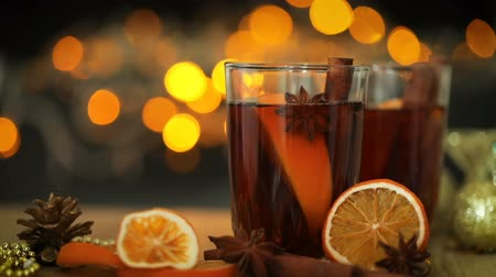 cidra : Mulled wine  in night celebration of  New Year party and delicious Christmas drink for autumn and winter season , 4k Dci resolution Vídeos