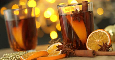 anason : Mulled wine  in night celebration of  New Year party and delicious Christmas drink for autumn and winter season , 4k Dci resolution Stok Video