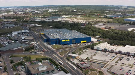 ニューイングランド : SHEFFIELD, UK - 6TH JUNE 2019: Aerial Footage of the new Ikea store in Sheffield 動画素材