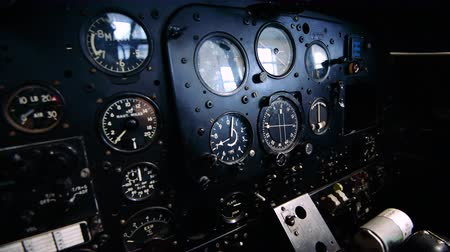bomber : 4K Close up footage of the inside of an old plane cockpit Stock Footage