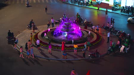 Hanoi, Vietnam - 10th October 2019: Locals and tourists gather around Dong Kinh Nghia Thuc Square at night