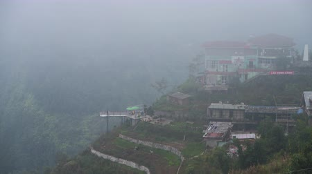 Sapa, Vietnam - 13th October 2019: Mist surrounded the small mountain town in North Vietnam