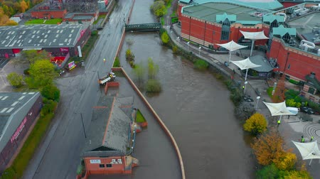 отменить : Sheffield, UK - 8th November 2019: Meadowhall after the flash flood on the 7th of November when River Don burst its banks Стоковые видеозаписи