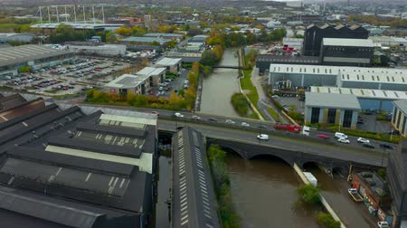 sete : Sheffield, UK - 8th November 2019: Aerial footage of buildings, offices and factories flooded by the River Don in the flash floods of November 2019, Sheffield, Yorkshire, UK