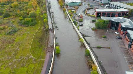 Sheffield, UK - 8th November 2019: Aerial view - The River Don floods after flash floods flooding local offices and buildings in Yorkshire.
