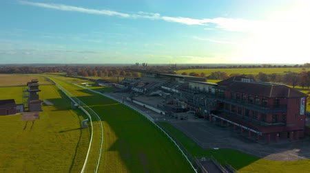 Beverley, UK - 10th November 2019: Aerial footage of drone looking down Beveley Racecourse during Sunrise. November, Winter 2019. East Yorkshire, UK.