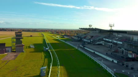 Beverley, UK - 10th November 2019: Aerial footage of drone flying along Beveley Racecourse during Sunrise. November, Winter 2019. East Yorkshire, UK.