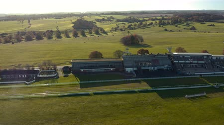 Beverley, UK - 10th November 2019: Pan around Beverley Racecourse Aerial Footage - Sunrise November, Winter 2019. East Yorkshire, UK.