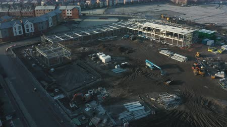 Rotherham, UK - 30th November 2019: Aerial view of Construction work at new Waverley Juniour Academy school, Rotherham, South Yorkshire