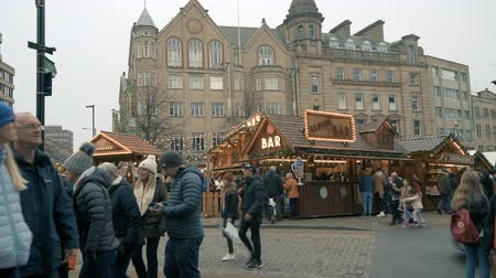 Customers flock to Sheffield Christmas market to taste holiday food and drink Stock Footage