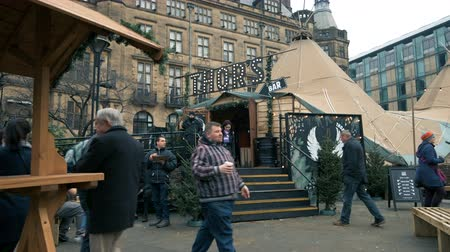 Sheffield, UK - 30th November 2019: Thors local bar sets up a tent in the middle of Sheffield City for the Christmas markets to serve alcohol to tourists