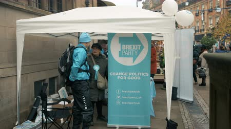 Sheffield, UK - 30th November 2019: The right wing Brexit Party set up a stall and hand out leaflets to the public in the middle of Sheffield during the Christmas markets