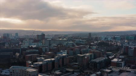 Sheffield, UK - 1st December 2019: Aerial view over Sheffield City, South Yorkshire, during a beautiful cold sunrise over the Christmas markets