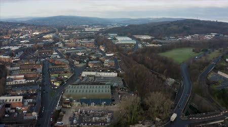 bretanha : Sheffield, UK - 1st December 2019: Aerial view over Sheffield City, South Yorkshire early on a frosty cold winter morning in December