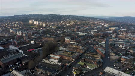 Sheffield, UK - 1st December 2019: Aerial view over Sheffield City, South Yorkshire early on a frosty cold winter morning in December