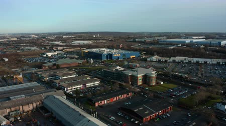 Sheffield, UK - 16th December 2019: Aerial Footage panning around Ikea megastore warehouse in Sheffield, South Yorkshire, UK Stock Footage