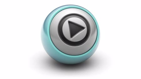 oynamak : play icon on ball. Looping. Stok Video