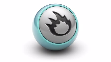 tutuşturmak : Flame icon on ball. Looping. Stok Video