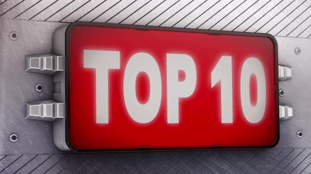 top ten : top 10 signage animation  Stock Footage