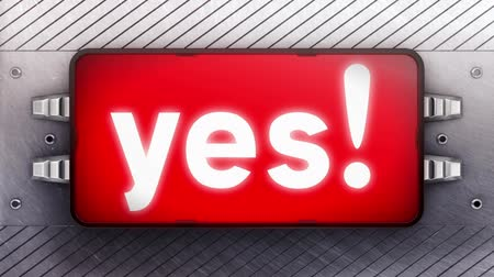 yeah : yes! on the signboard. Looping. Stock Footage