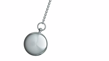 um objeto : Pendulum of pocket watch on a white background. Looping. Alpha channel.