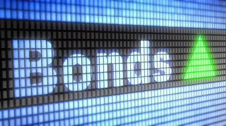 de ativos : Index of Bonds on the screen. Up. 4K resolution. Looping. Stock Footage