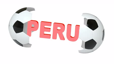 bola de futebol : Peru. Looping footage with Encoder Prores 4444 has 4K Resolution and the alpha channel included.