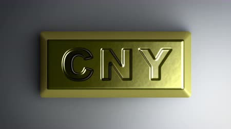 cny : Yuan sign on the gold bullion. Looping footage with Encoder Prores 4444 has 4K Resolution.