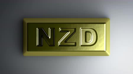 üt : New Zealand dollar sign on the gold bullion. Looping footage with Encoder Prores 4444 has 4K Resolution.