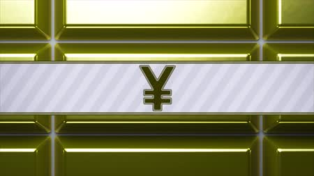 bullion : Yen sign on gold bullion. Looping footage with 4k resolution and encoder Prores 4444.