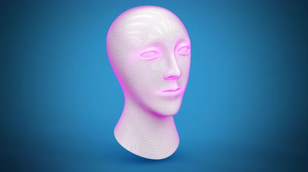 pszichológia : 3D model of head. Looping footage has 4K resolution. Prores 4444.