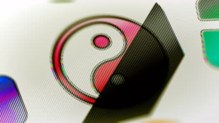 yin and yang : The computer icon in the screen. Looping footage has 4K resolution. Prores 4444. 3D Illustration.