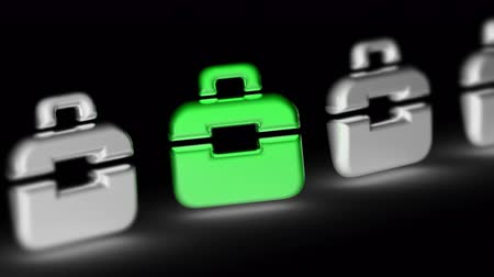 портфель : The briefcase icon. Looping footage has 4K resolution. Prores 4444. 3D Illustration. Стоковые видеозаписи