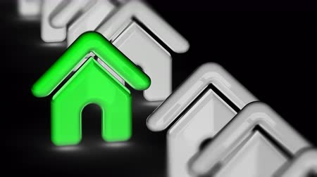 url : The house icon. Looping footage has 4K resolution. Prores 4444. 3D Illustration.