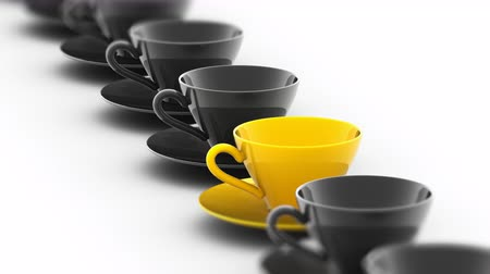 işçiler : The coffee cup. Looping footage has 4K resolution. Prores 4444. 3D Illustration. Stok Video