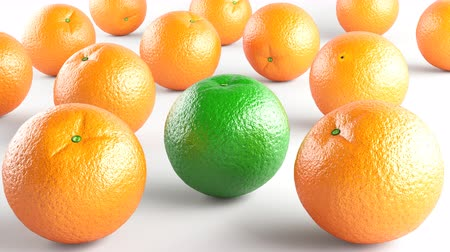 цитрусовые : Oranges. Footage has 4K resolution. Prores 4444. 3D Illustration. Стоковые видеозаписи