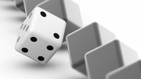 kazık : The dice. Looping footage has 4K resolution. Prores 4444. 3D Illustration. Stok Video